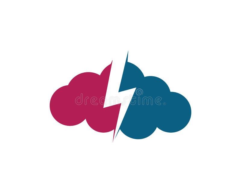 Logo e simbolo di dati dei server della nuvola illustrazione di stock