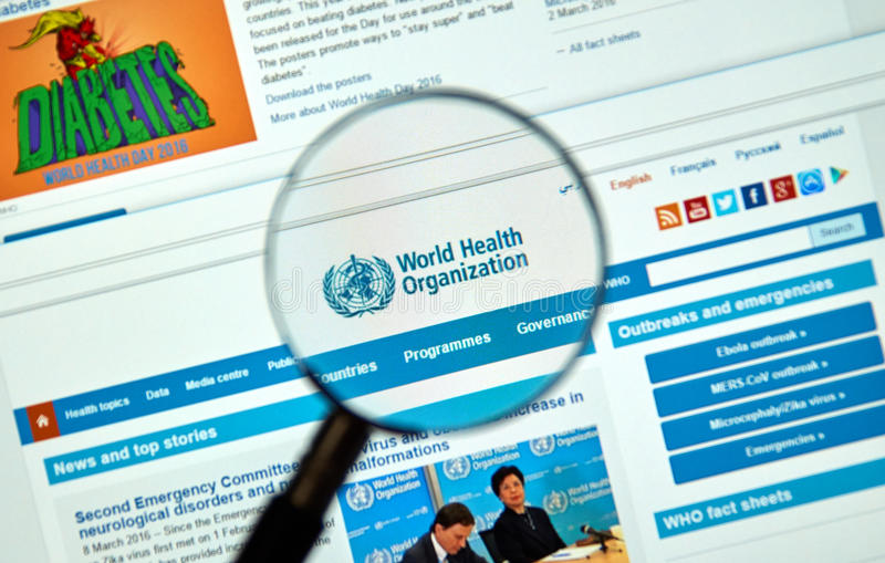 Logo e sito Web dell'organizzazione mondiale della sanità immagine stock libera da diritti