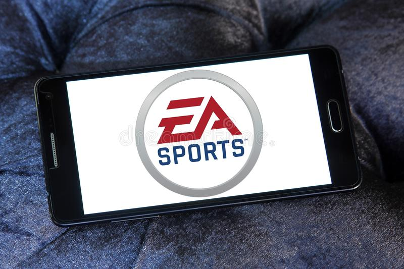 EA Sports logo. Logo of EA Sports on samsung mobile. EA Sports is a division of Electronic Arts that develops and publishes sports video games stock images