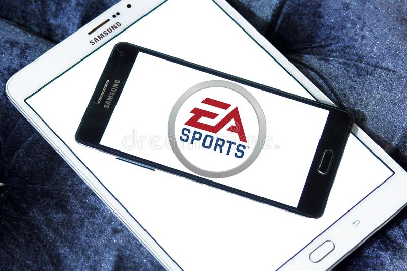 EA Sports logo. Logo of EA Sports on samsung mobile. EA Sports is a division of Electronic Arts that develops and publishes sports video games royalty free stock photos