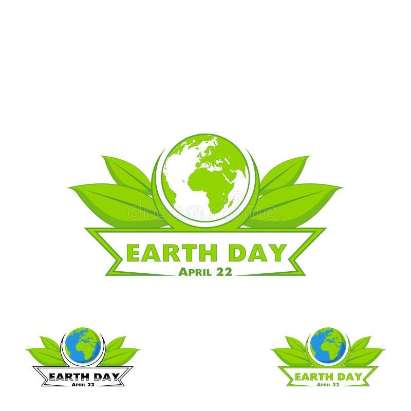 Logo Earth Day Vektorillustration med orden, planeterna och gräsplansidorna royaltyfri illustrationer