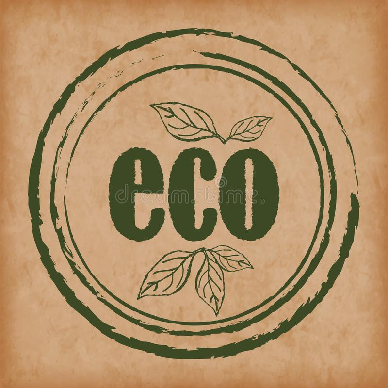 Logo eco products. Seals / stamps for packaging and design of organic products. Eps10 Vector. Food products packaging icons, organic natural eco and bio products royalty free illustration