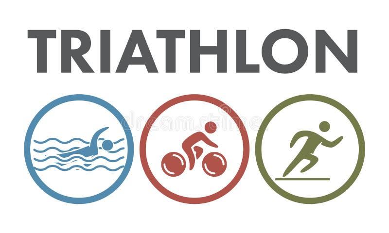 Logo ed icona di triathlon Nuotando, ciclare, eseguente i simboli illustrazione vettoriale