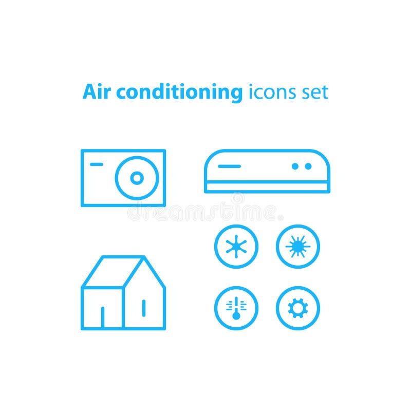 Logo ed icone lineari del condizionamento d'aria illustrazione di stock