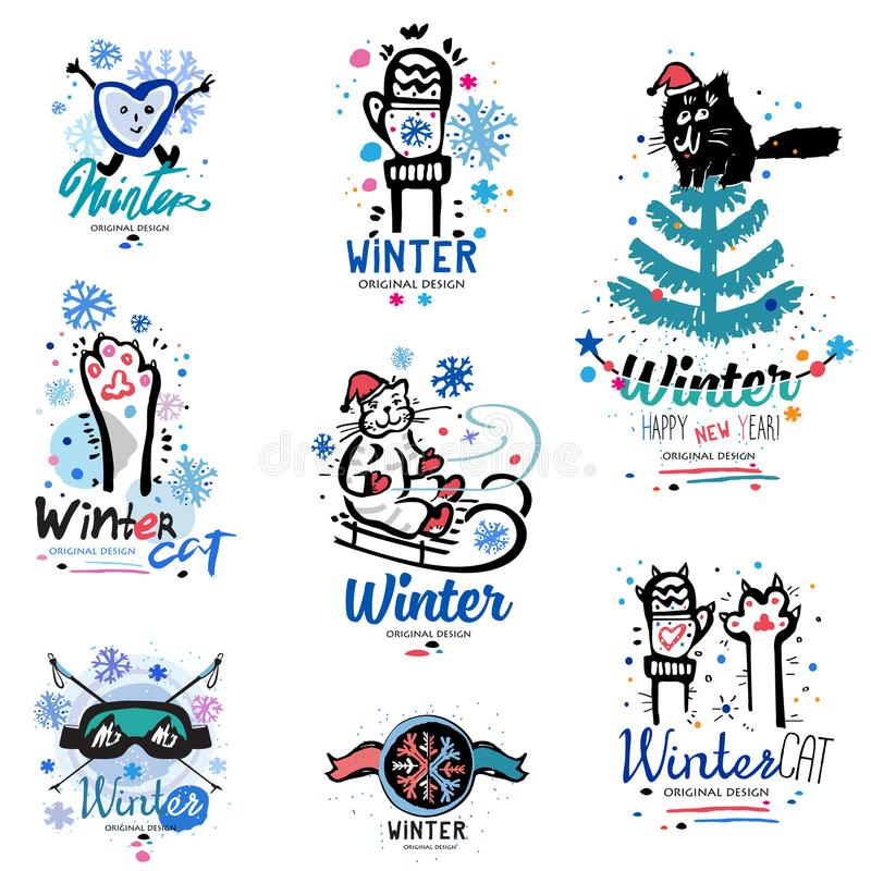 Logo ed illustrazione di divertimento di inverno Logo astratto di divertimento immagini stock libere da diritti