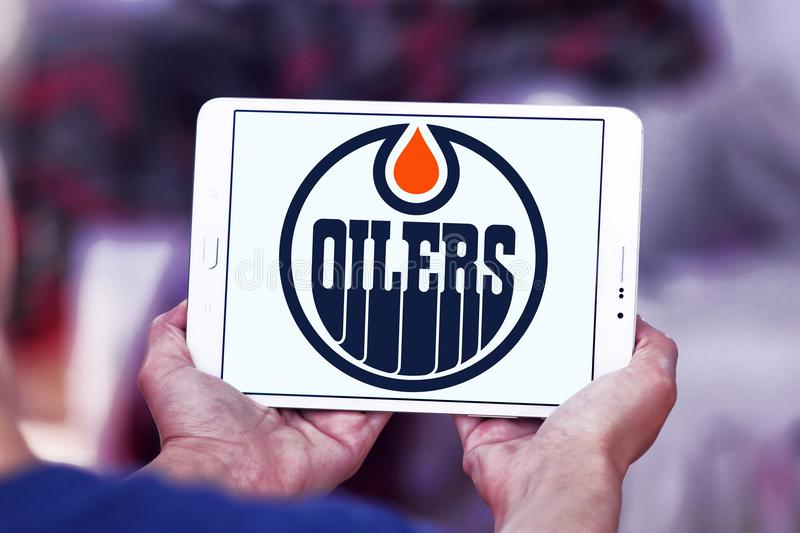 Edmonton Oilers ice hockey team logo. Logo of Edmonton Oilers team on samsung tablet. The Edmonton Oilers are a professional ice hockey team stock images