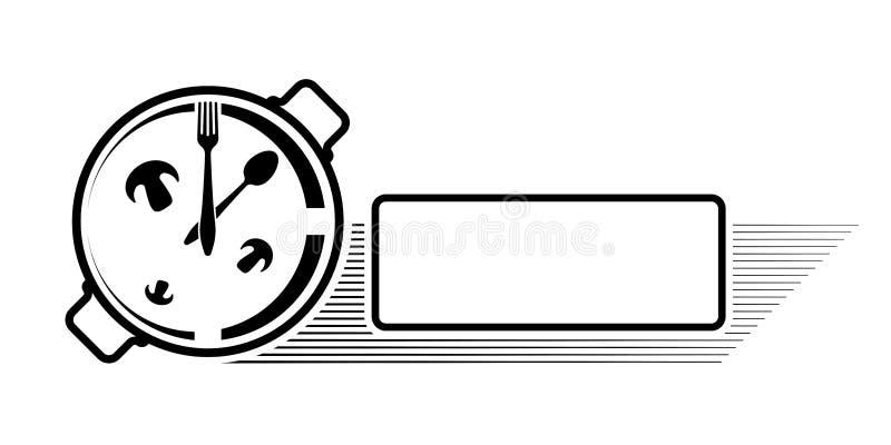 Logo eines Cafés oder des Restaurants Emblem für Menü oder Werbung Uhr in Form einer Wanne mit einem Löffel und einer Gabel lizenzfreies stockfoto