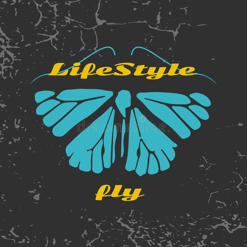 Logo eines gemalten blauen Schmetterlinges stock abbildung
