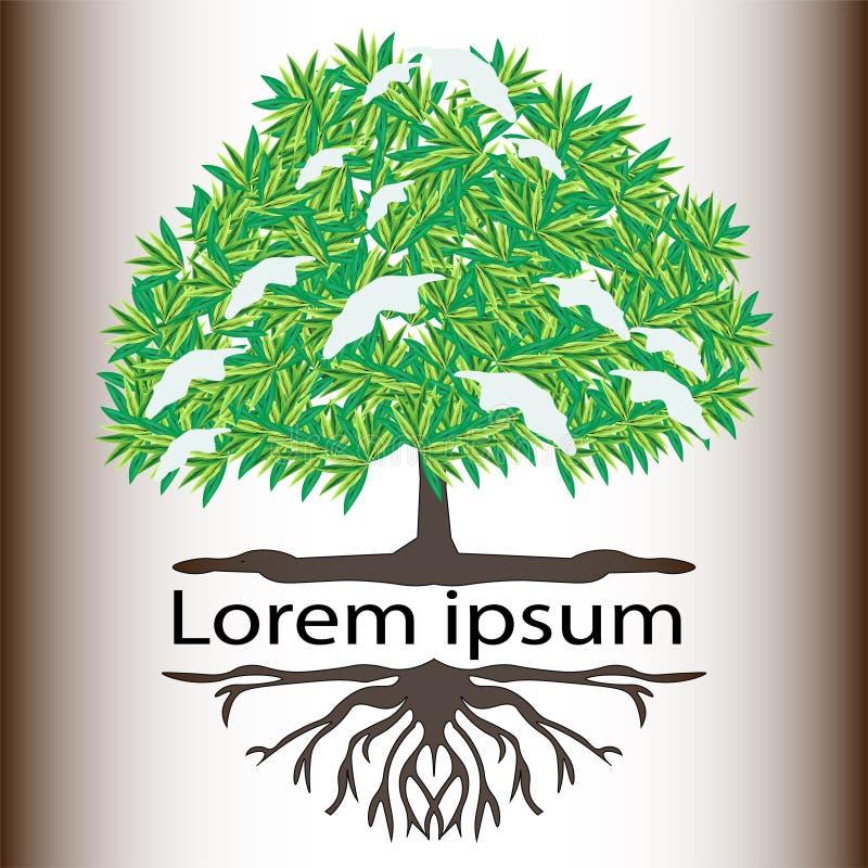 Logo eines schneebedeckten Baums des weißen Hintergrundes lizenzfreie abbildung