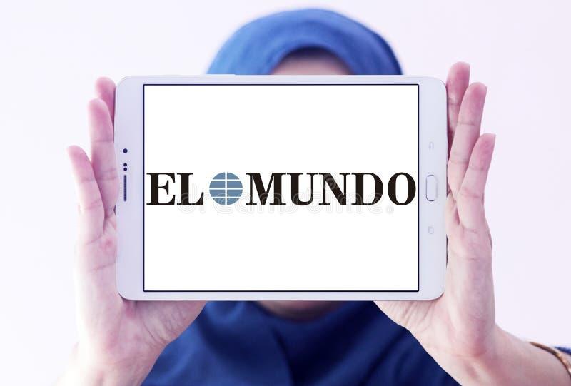 El Mundo newspaper logo. Logo of El Mundo newspaper on samsung tablet holded by arab muslim woman. El Mundo is the second largest printed daily newspaper in stock photography
