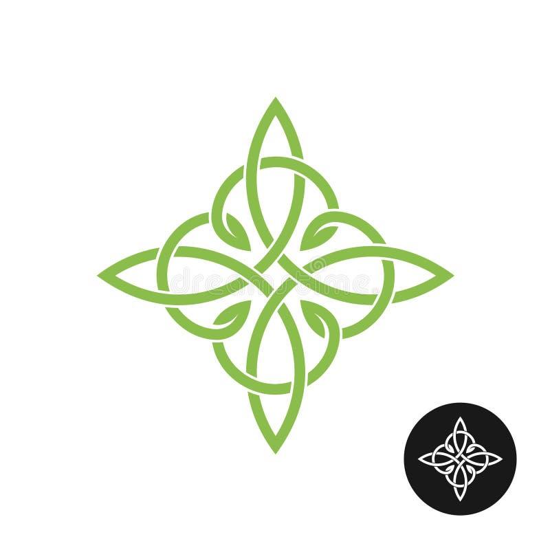 Logo elegante dell'incrocio del tessuto dei nodi celtici illustrazione di stock