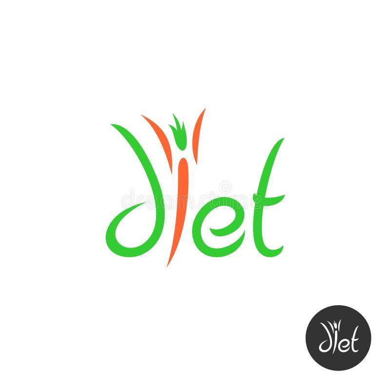 Logo elegante di parola di dieta illustrazione di stock