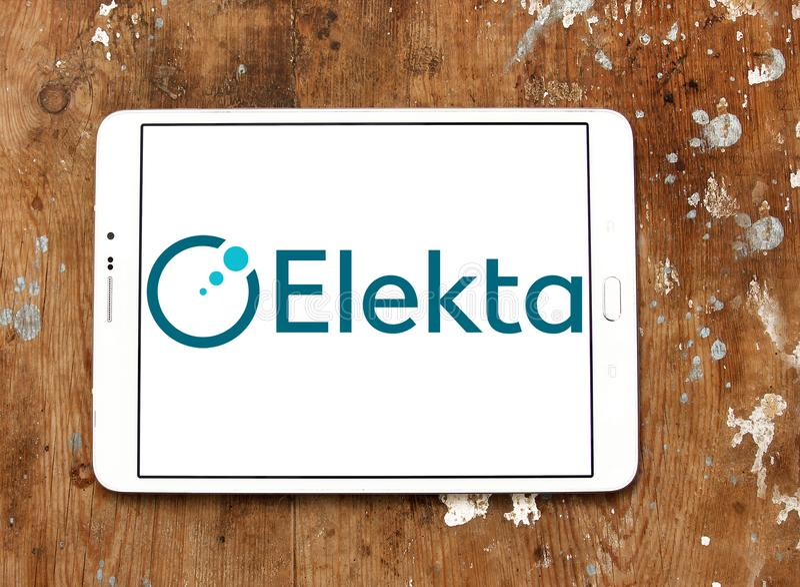 Elekta company logo. Logo of Elekta company on samsung tablet. Elekta is a Swedish company that provides radiation therapy, radiosurgery, related equipment and stock images