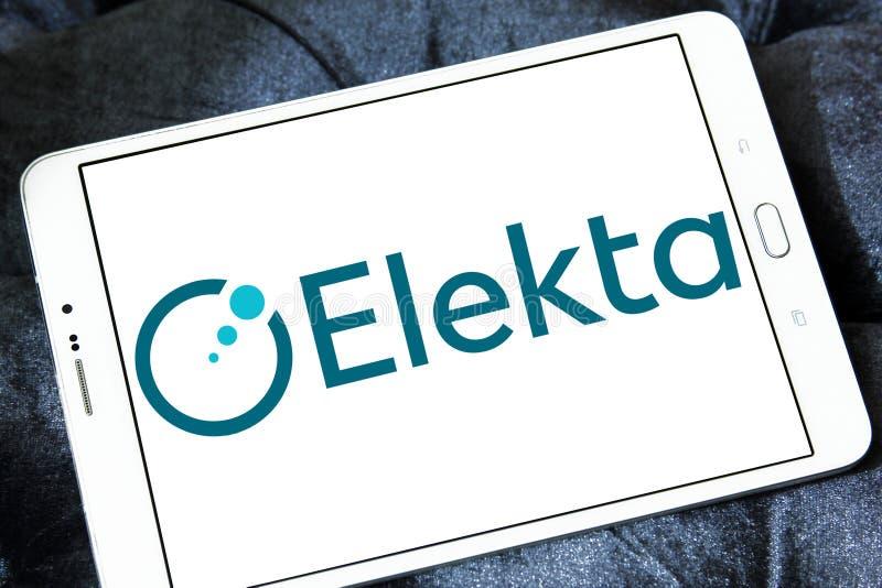 Elekta company logo. Logo of Elekta company on samsung tablet. Elekta is a Swedish company that provides radiation therapy, radiosurgery, related equipment and stock image