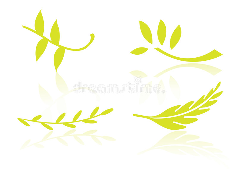 Logo elements leafs - vector stock illustration