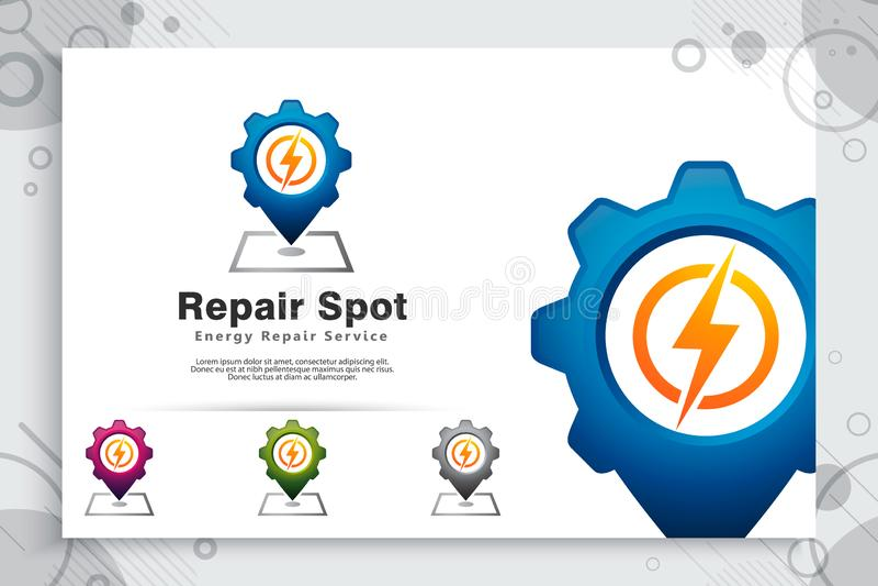 Logo elettrico di vettore del punto di riparazione con il concetto semplice, illustrazione creativa della mappa elettrica e e del royalty illustrazione gratis