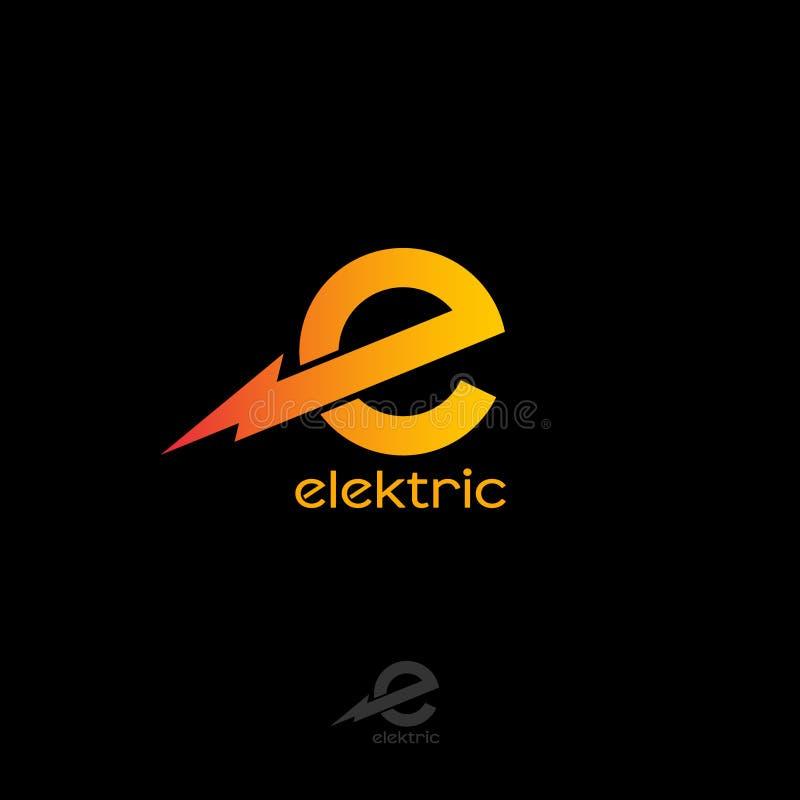 Logo elettrico Monogramma di E Lettera arancio con fulmine illustrazione vettoriale