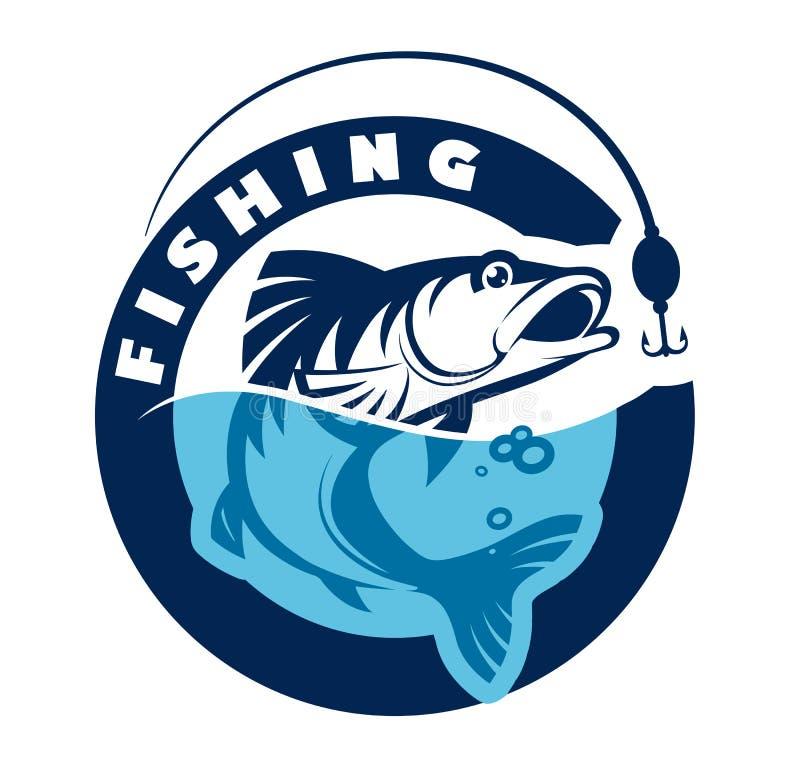 Logo eller emblem för att fiska klubban också vektor för coreldrawillustration stock illustrationer