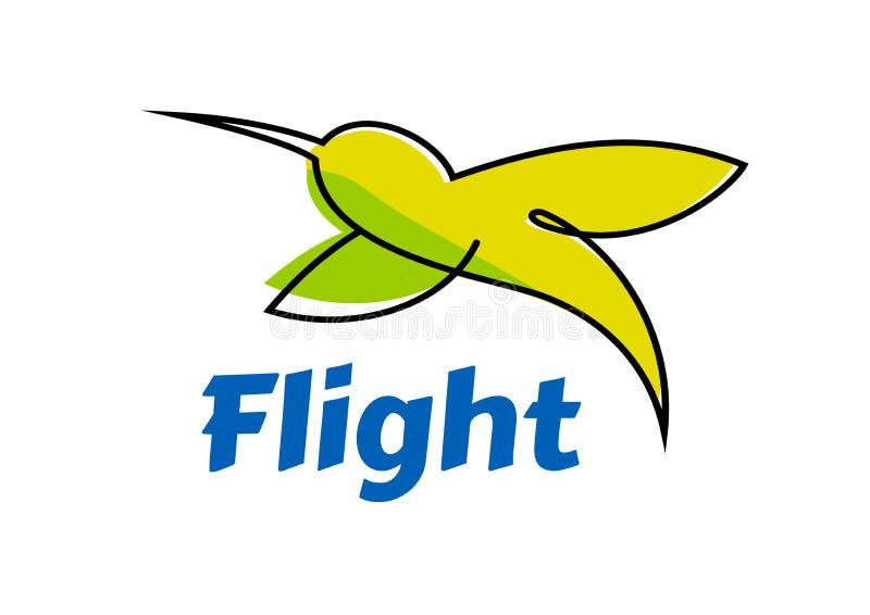 Logo eller emblem med den abstrakta kolibrin i flykten royaltyfri illustrationer