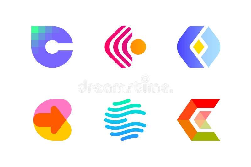 Logo eller symbol av bokstav C för blockchainbransch stock illustrationer
