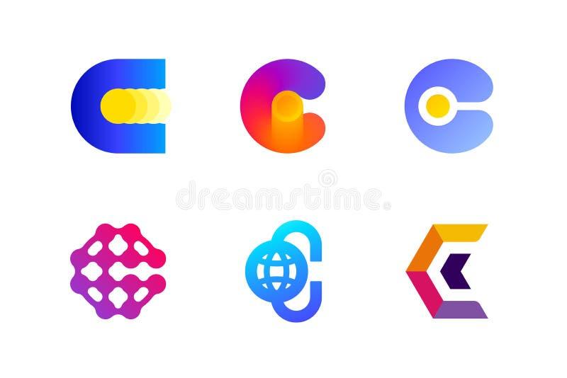 Logo eller symbol av bokstav C för cryptocurrency- och blockchainbransch royaltyfri illustrationer