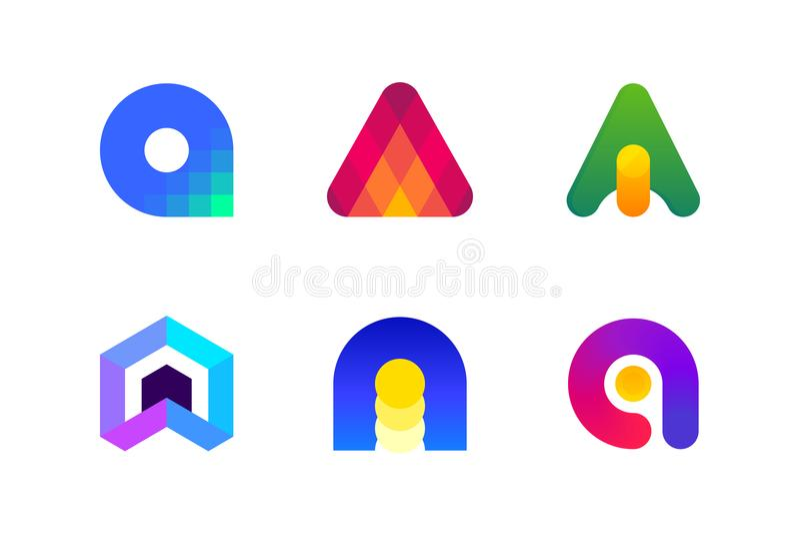 Logo eller symbol av bokstav A för att redovisa och finansiell rådgivning royaltyfri illustrationer