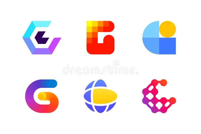 Logo eller symbol av bokstavsG för global cryptocurrencybransch stock illustrationer