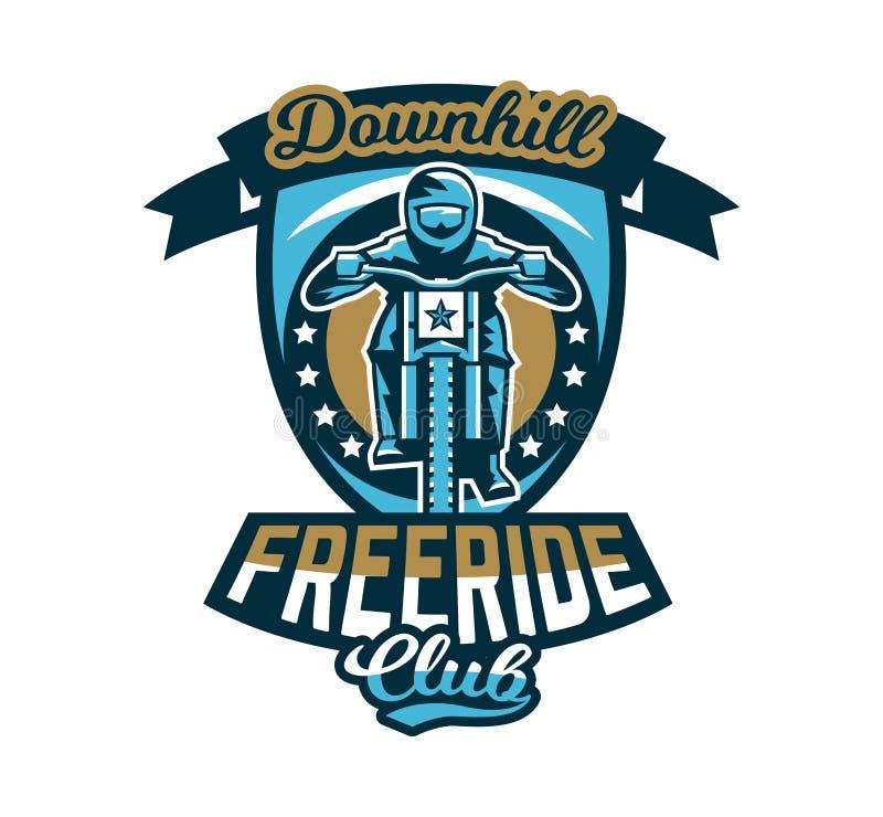Logo emblem av ryttaren som rider en mountainbike Sluttande freeride, extrem sport också vektor för coreldrawillustration royaltyfri illustrationer