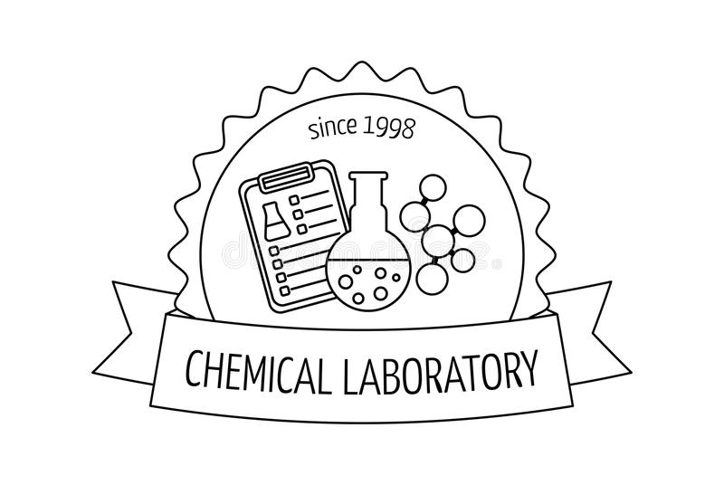 Logo and emblem for the chemical, medical, research laboratories, businesses, industries and products. Isolated image. Vector. Illustration royalty free illustration