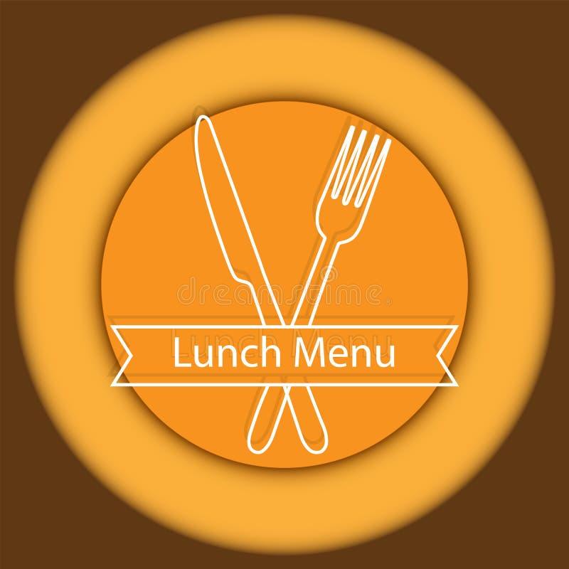 Logo or emblem of the lunch menu for a cafe or restaurant stock illustration