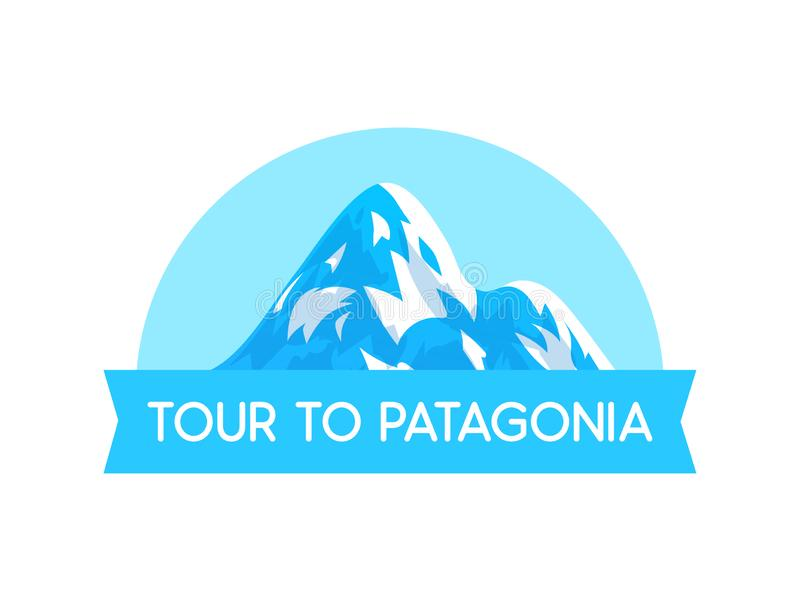 Logo Emblem med illustrationen av stil för Patagoniafjällängvektor - vektorillustration på vit royaltyfri illustrationer