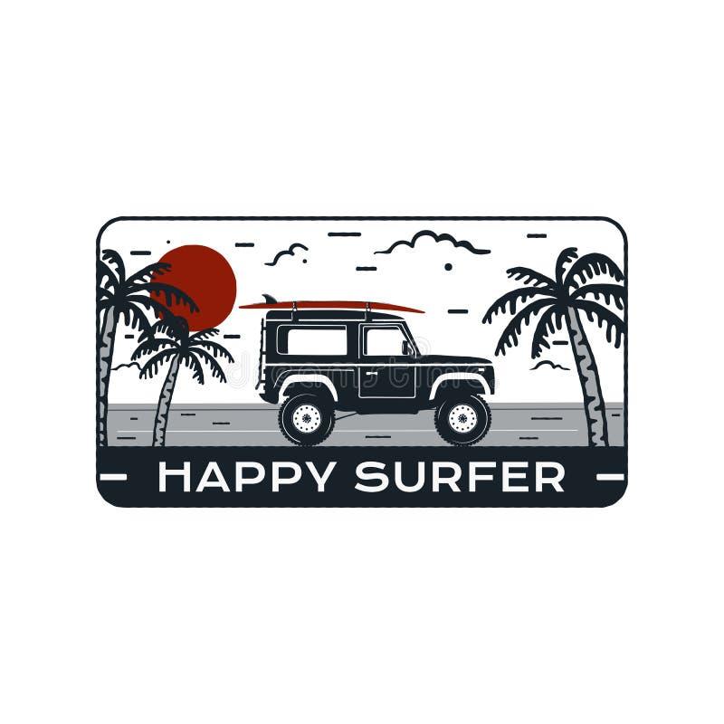 Logo Emblem que practica surf Insignia dibujada mano del viaje del vintage, cartel Ofreciendo el montar a caballo del coche de la ilustración del vector