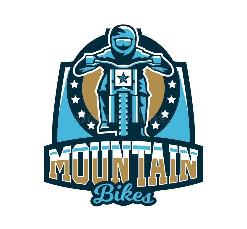 Logo, emblemat jeździec jedzie rower górskiego Zjazdowy, freeride, krańcowy sport również zwrócić corel ilustracji wektora ilustracja wektor
