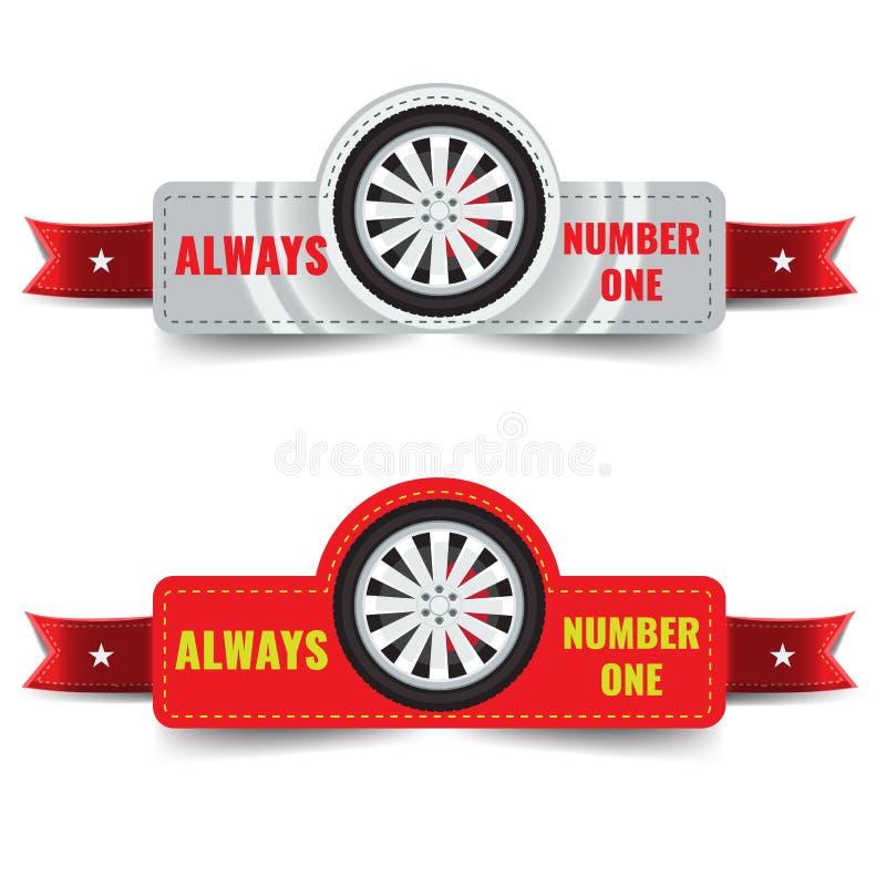 Logo, emblemi ed insegne del negozio della gomma di vettore con lo spazio del testo per il vostri slogan e nastro royalty illustrazione gratis