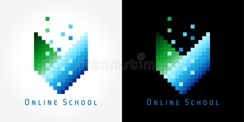 Logo en ligne de couleur d'école de Digital illustration libre de droits