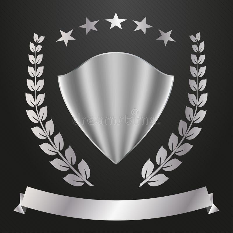 Logo en métal Bouclier, étoiles, guirlande de laurier et drapeau illustration libre de droits