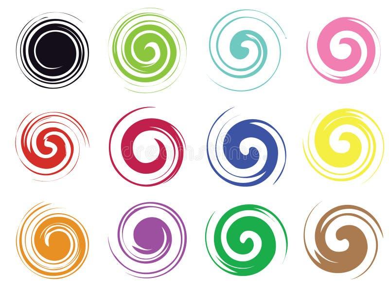 Logo en spirale de grunge de remous illustration de vecteur