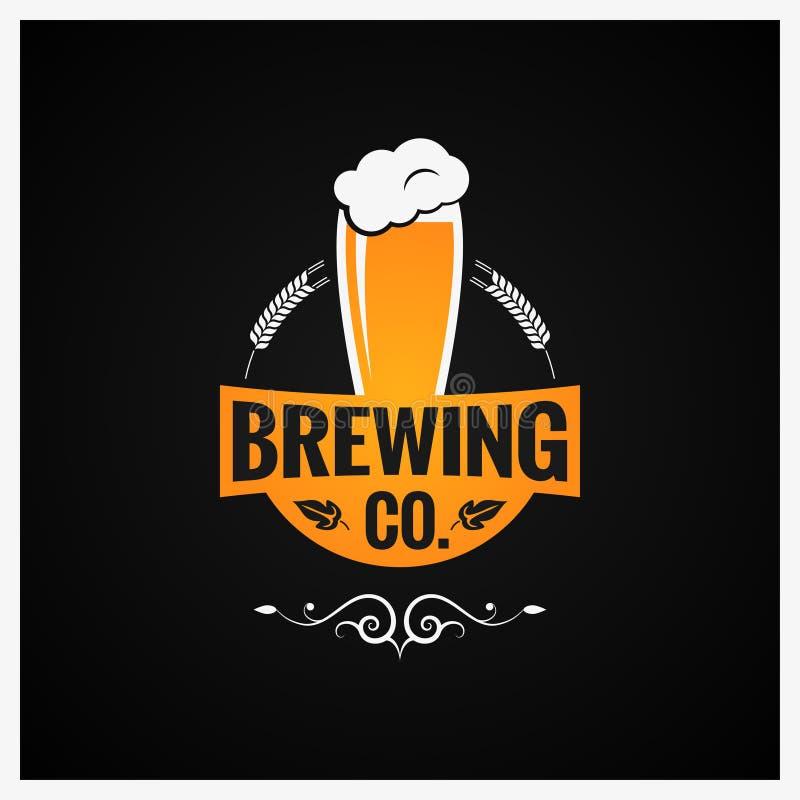 Logo en verre de bière Antécédents de la société de brassage illustration de vecteur