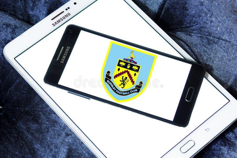 Burnley F.C. soccer club logo. Logo of english Burnley F.C. soccer club on samsung mobile stock photography