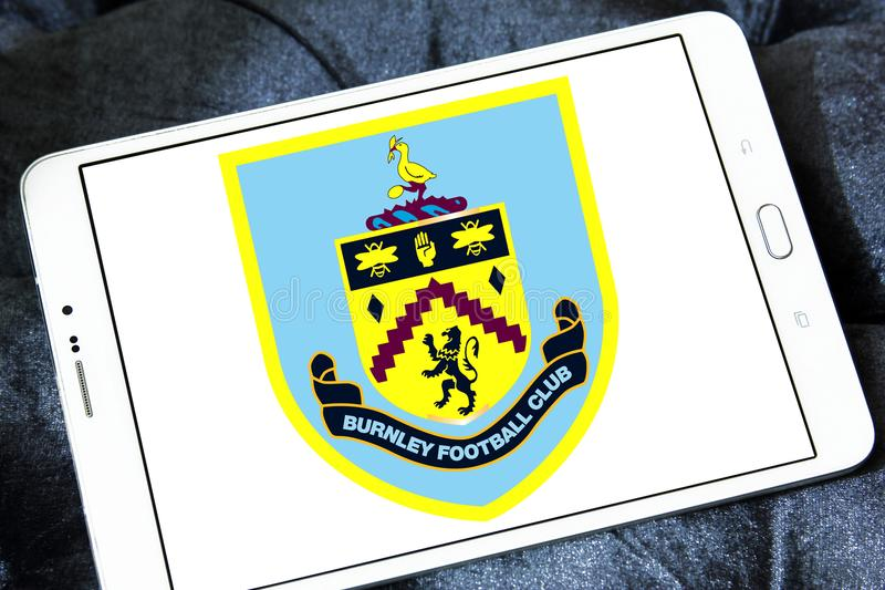 Burnley F.C. soccer club logo. Logo of english Burnley F.C. soccer club on samsung tablet royalty free stock photo