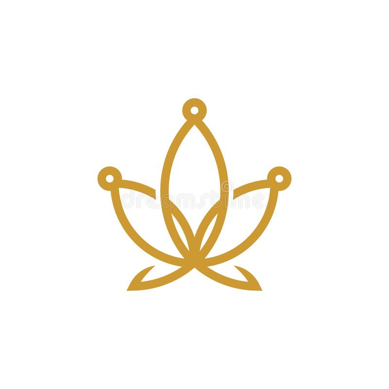 Logo-Entwurfsinspiration Königs Cannabis, Hanfkronenlogo-Entwurfsinspiration lizenzfreie abbildung