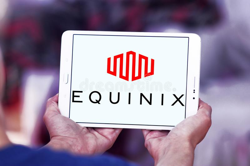 Equinix internet company logo. Logo of Equinix internet company on samsung tablet. Equinix, Inc. is an American multinational company that specializes in royalty free stock images