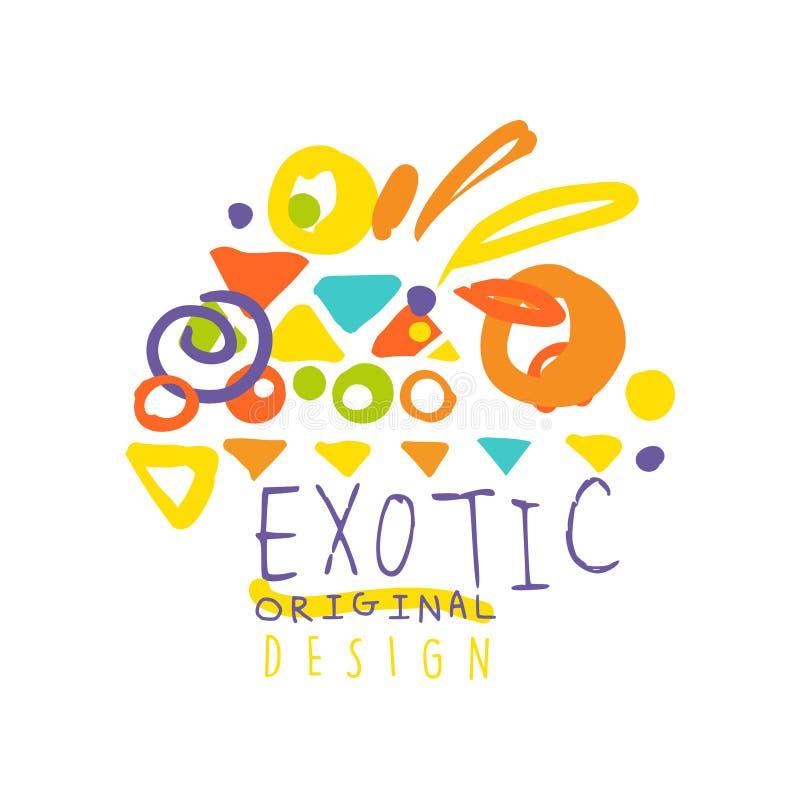 Logo esotico di viaggio di scarabocchio disegnato a mano astratto illustrazione vettoriale