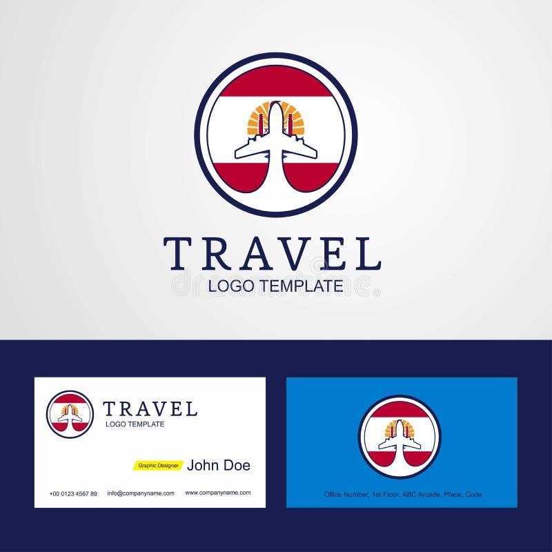 Logo et affaires créatifs c de drapeau de cercle de Polynésie française de voyage illustration de vecteur