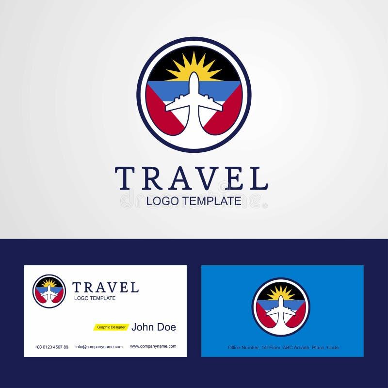 Logo et affaires créatifs de drapeau de cercle de l'Antigua-et-Barbuda de voyage illustration libre de droits
