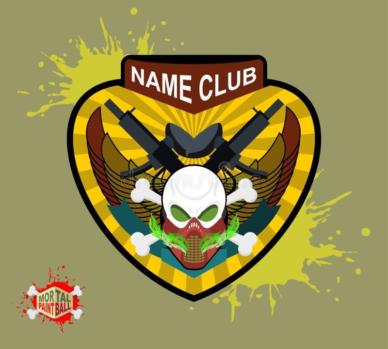 Logo et emblème d'équipe de Paintball crâne effrayant dans le masque de paintball illustration libre de droits
