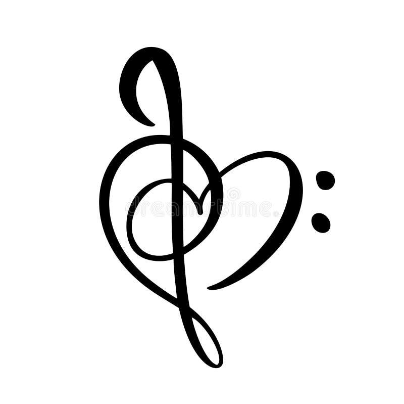 Logo et icône tirés par la main abstraits de clé de musique et de vecteur de coeur Calibre plat de conception de thème musical D' illustration stock