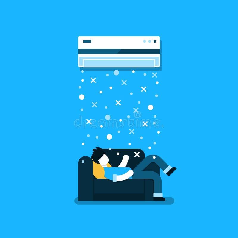 Logo et icône linéaires de climatisation illustration stock