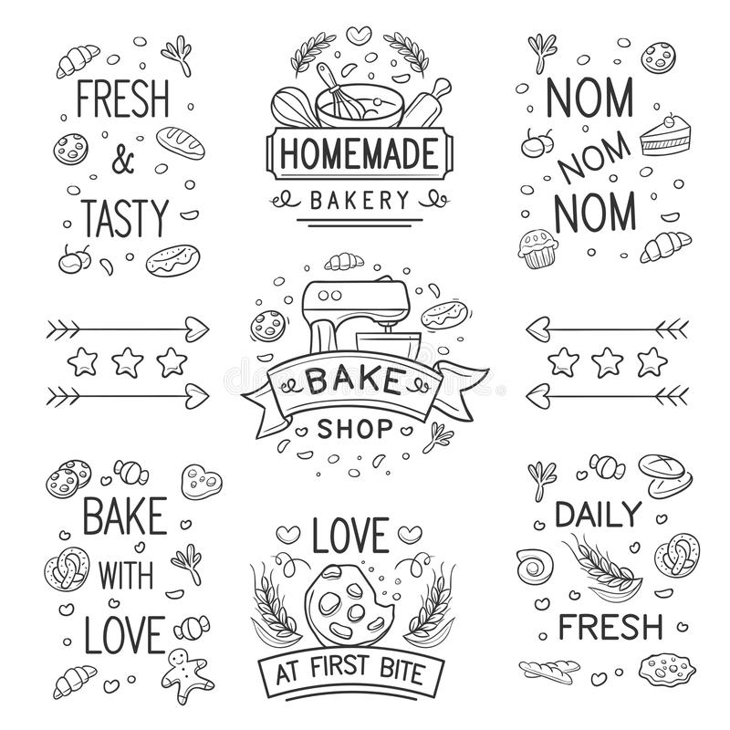 Logo et ornement de boulangerie de griffonnage illustration stock