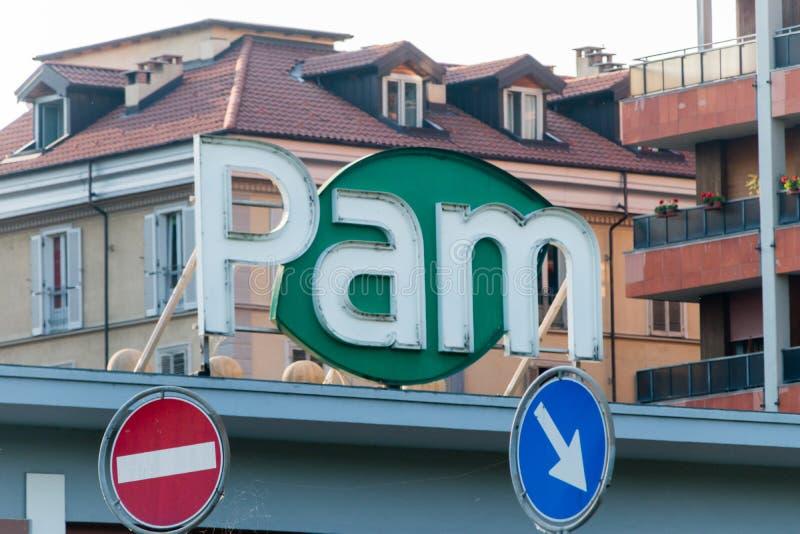 Logo et signe de Pam photographie stock libre de droits